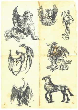 leon de dibujos animados: Una gran serie de dragones místicos en una hoja de papel viejo