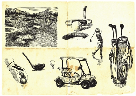 collection of hand-drawn Golf  Vector
