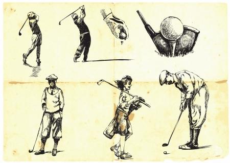 golf stick: colecci�n de dibujado a mano Golf