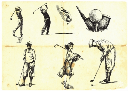 golfer: collection of hand-drawn Golf  Illustration