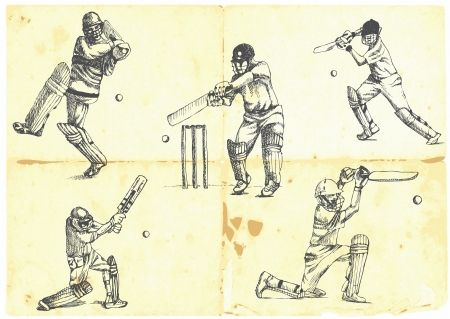 hand-drawn series - a collection of CRICKETERS  Vector