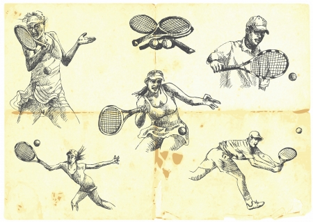 손으로 그린 시리즈 - 테니스 선수의 컬렉션 일러스트