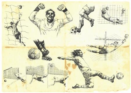arquero futbol: Colección de las diferentes situaciones del juego de fútbol Vectores