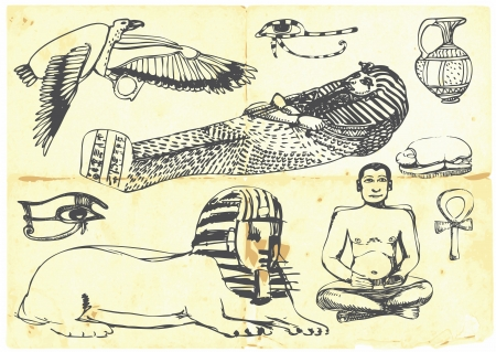 archaeologist: Egyptian collection of symbols, religion, images, people  Illustration