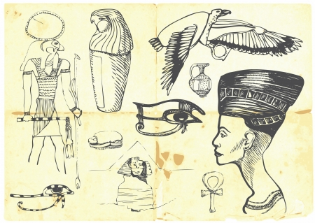 Egyptian collection of symbols, religion, images, people  Vector