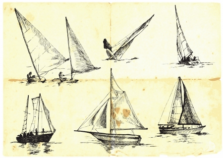 sailing vessel: collection of sailing boats - yachts - Sport  Illustration