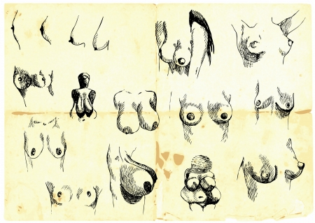 Hand-drawn collection  Female breasts