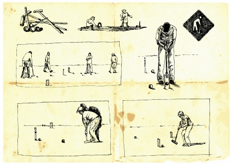 senior exercise: Hand-drawn collection  Popular sports - Croquet   Illustration