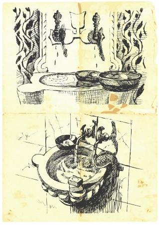 vintage theme  ancient Roman and Turkish bath Stock Vector - 14441918