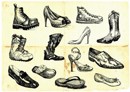 trekken: collectie schoenen van diverse soorten en stijlen Stock Illustratie