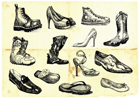 draw: collection of shoes of various types and styles