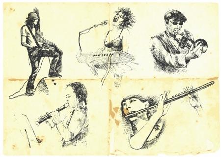 jazz club: musiciens avec des instruments de musique Illustration