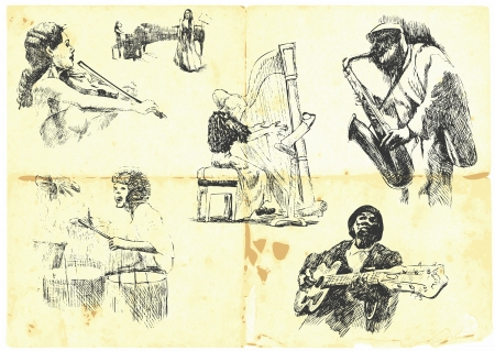 instrument practice: musicians with musical instruments   Illustration