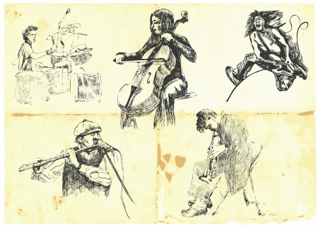 accords: musicians with musical instruments   Illustration