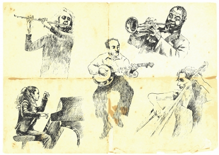 muzikanten met muziekinstrumenten