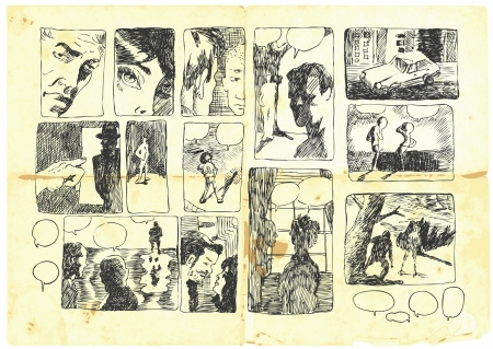 literary characters: drawing converted to STORYBOARD no story.