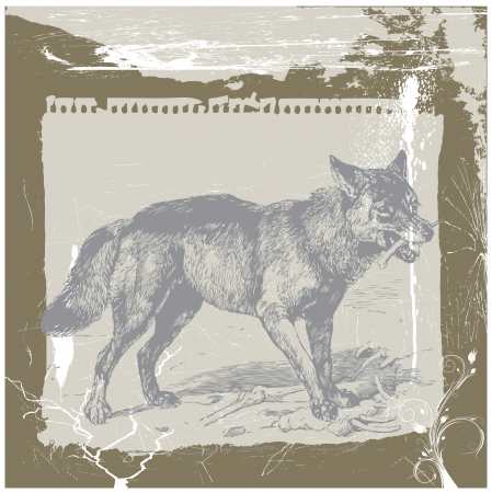 archaically: wolf - hand drawing Illustration