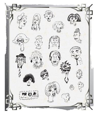 caras de dibujos animados, dibujos garabato, la mano