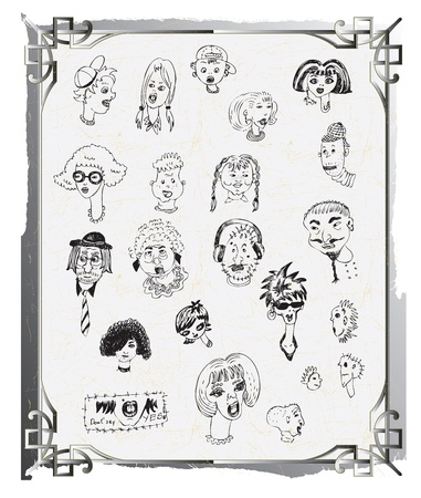 cartoon faces, doodle, hand drawing Vector