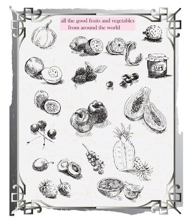 archaically: fruits and vegetables, hand drawing  Illustration