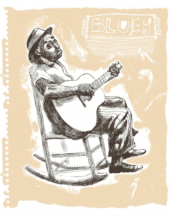 Drawings own hands  musicians , blues man Vector