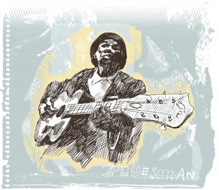 jazz club: Dessins propres mains des musiciens, blues man