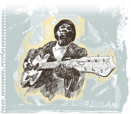 blues music: Drawings own hands  musicians , blues man