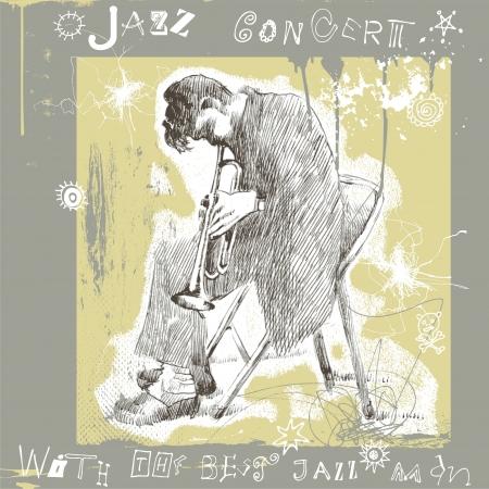 Drawings own hands  musicians , jazz man Stock Vector - 14422762