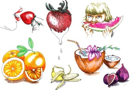 Summer holiday and fruits Stock Vector - 14422780