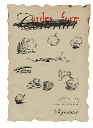 fruits, vegetable, nature - collection, hand drawing converted into Ilustracja