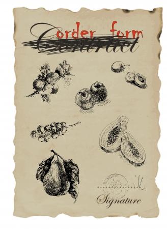 ovoce - kolekce, hand drawing přeměněn Reklamní fotografie - 14529636
