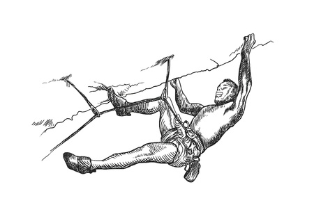mountaineer: climber, hand drawing converted into