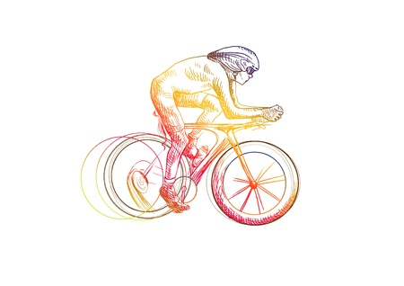 cyclist, hand drawing converted into Vector