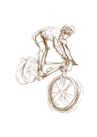 bicycle cartoon: cyclist, hand drawing converted