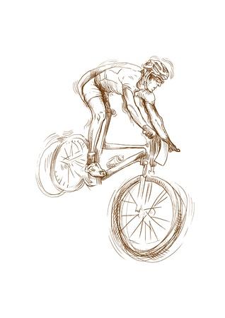 cyclist: fietser, omgerekend hand tekening Stock Illustratie