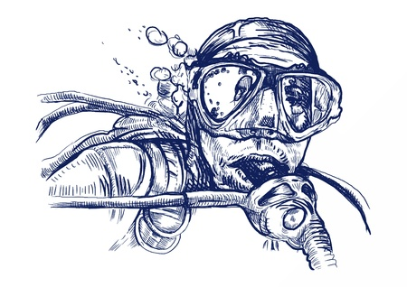 diver: diver, hand drawing converted Illustration