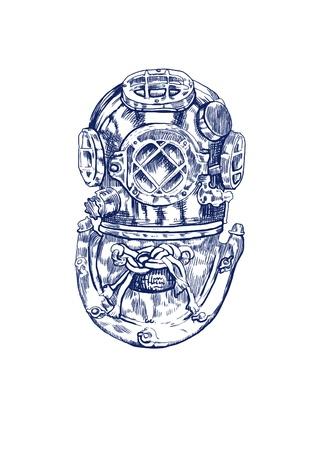 diving: diver - helmet, hand drawing converted
