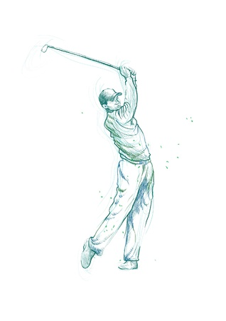 golfer, hand drawing converted into Vector