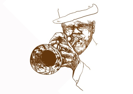new orleans: trumpeter, hand drawing converted