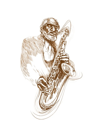 accords: jazz man with sax Illustration