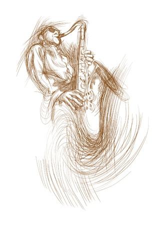 jazz club: jazz man with sax Illustration