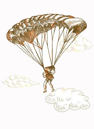 fallschirmj�ger: Fallschirmspringer, Handzeichnung umgewandelt