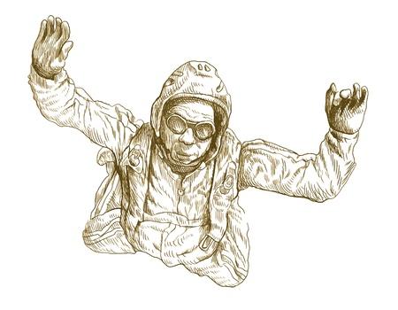parachute jump: parachutist, hand drawing converted Illustration
