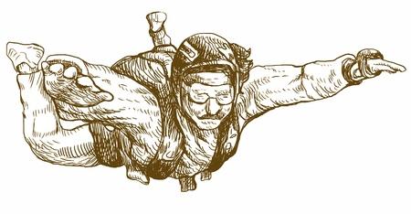 dessin à la main parachutiste, converti en Banque d'images - 14529631