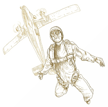 parachute jump: parachutist, hand drawing converted Illustration