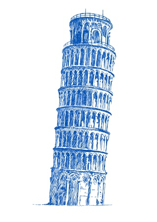 Leaning Tower of Pisa , hand drawing Illustration
