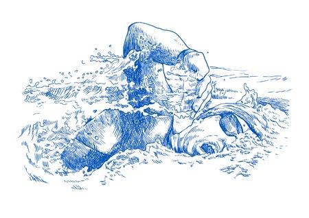 수영, 핸드 드로잉 변환 일러스트