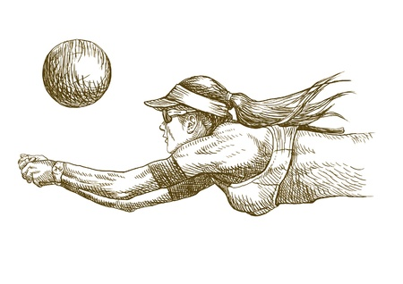 volleyball player, hand drawing converted