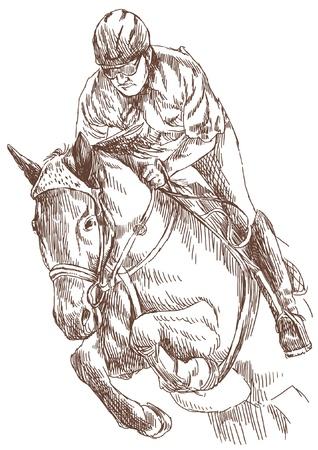 cavallo in corsa: cavallo cavaliere, disegno a mano convertito
