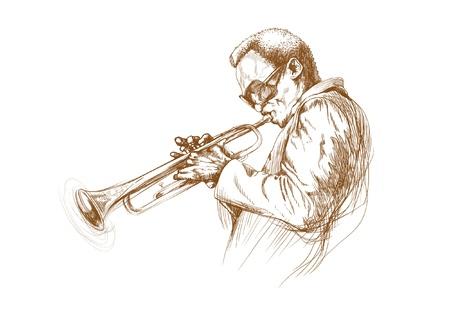 acustica: uomo jazz,, disegno a mano convertito Vettoriali